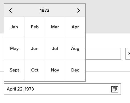 date of birth widget, showing the month