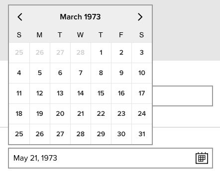 date of birth widget, showing the date